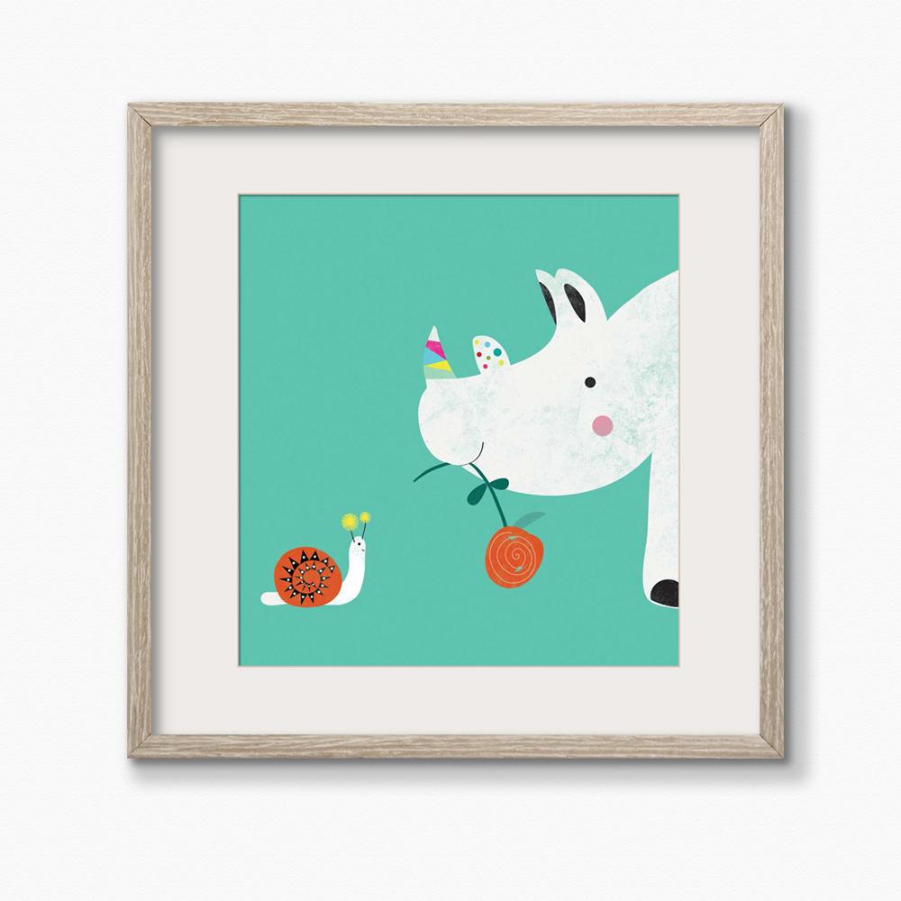 Nursery Art Print Rhino & Snail