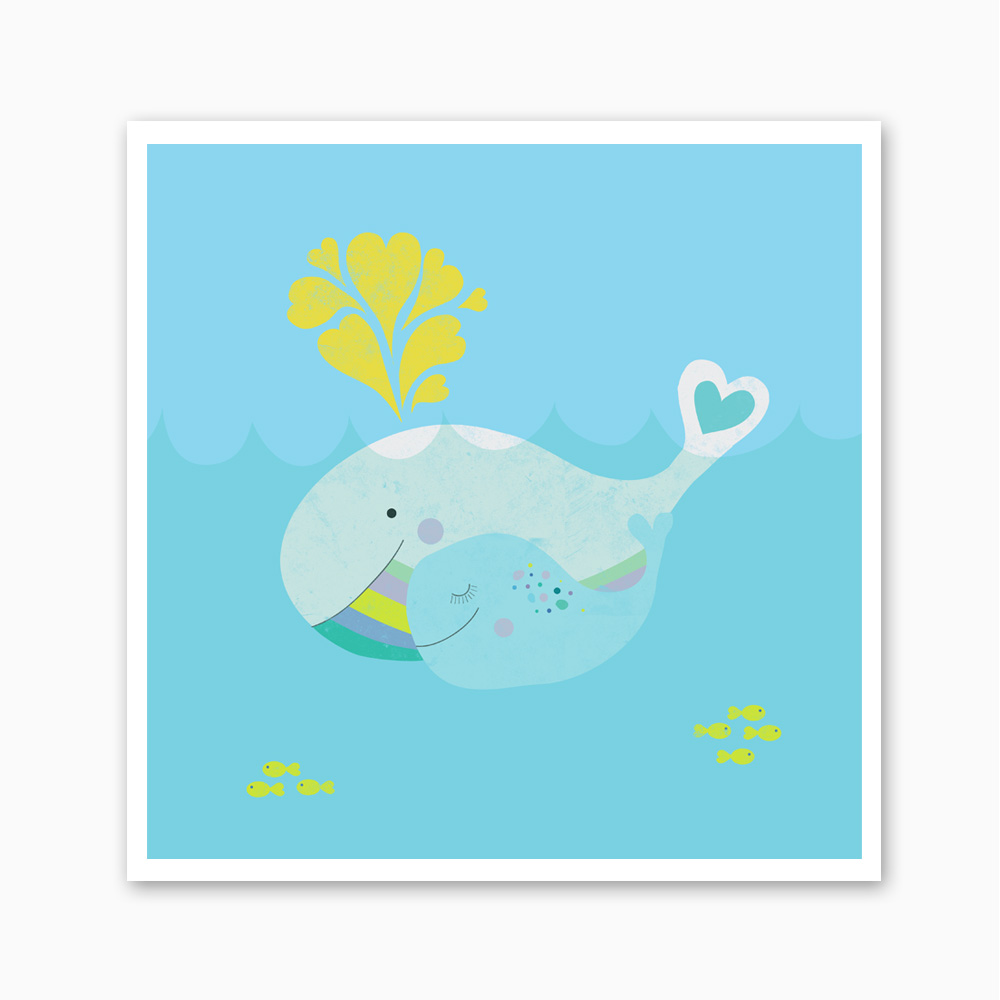 Nursery Art Print  Whale