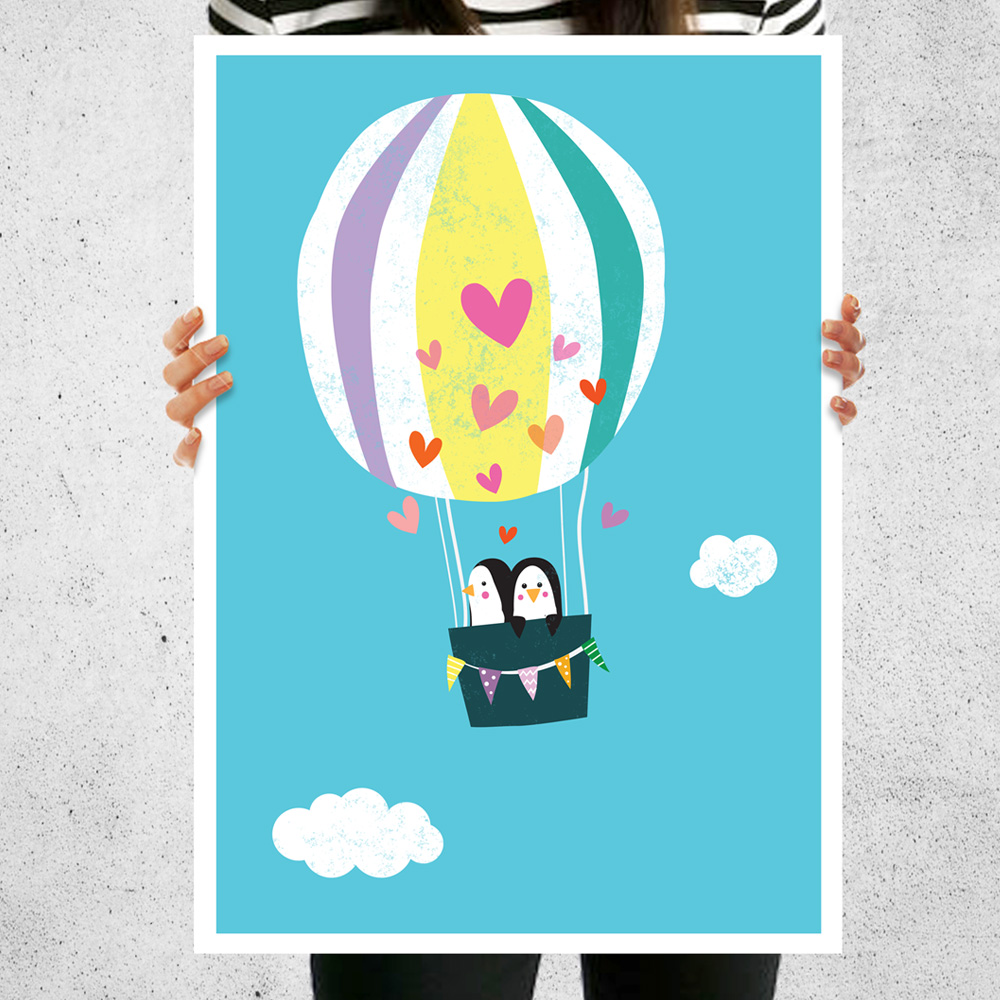 Nursery Art Print Hot Air Balloon